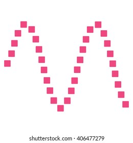 Sinusoid glyph toolbar icon. Style is flat icon symbol, pink color, white background, square dots.