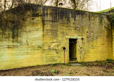 Sinz, Perl, Saarland, Germany - January 8, 2019: A battle scarred World War Two bunker that once formed part of the Westwall is now a museum