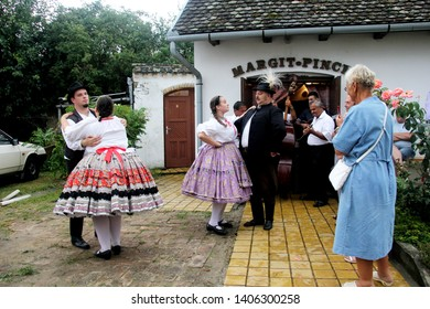 Sioagard, Hungary - august 14, 2018: Hungarian dance in folk costumes, show for tourists in Siogard village, Hungary