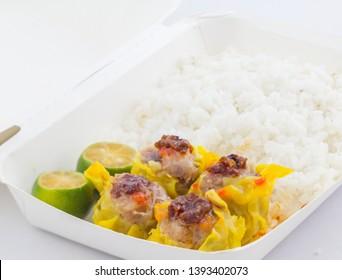 siomai chinese pork dumplings in take away box