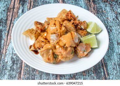 Siomay, Indonesian Street Food, steamed dumplings, tofu and served with peanut sauce
