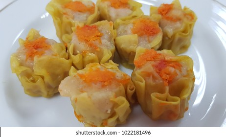 Siomay Steammed On a White Plate