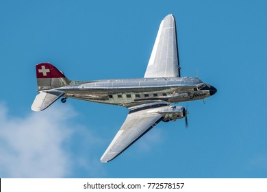 SION BREITLING AIRSHOW - September 16, 2017. Old and reflective Classic Formation, Douglas DC-3 Frossair, regional section Swiss air, during  exibition over Sion Airport, Switzerland. Swiss Air Show