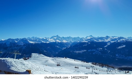 Sion, Switzerland - 8 November 2018 - ski slope in Switzerland