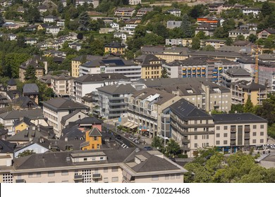 SION, SWITZERLAND - JULY 19, 2017: View of housing in Sion, Canton of Valais.