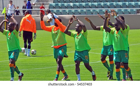 SION, SWITZERLAND - JUNE 4: Ivory Coast warming up in a friendly match against Japan for the 2010 world cup:  June 4, 2010 in Sion Switzerland