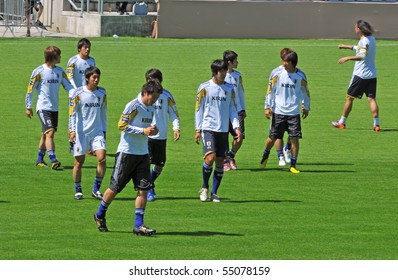 SION, SWITZERLAND - JUNE 4: Japanese team in a friendly match against Ivory Coast for the 2010 world cup:  June 4, 2010 in Sion Switzerland