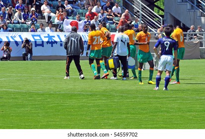 SION, SWITZERLAND - JUNE 4:Drogba with broken arm leaves the Ivory Coast in a friendly match against Japan for the 2010 world cup:  June 4, 2010 in Sion Switzerland