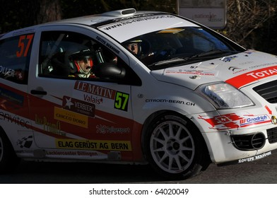 SION, SWITZERLAND - OCTOBER 28: Strasser (driver) and Stoller on Day 1, Stage 1 of the International Rally of the Valais: October 28, 2010 in Sion Switzerland