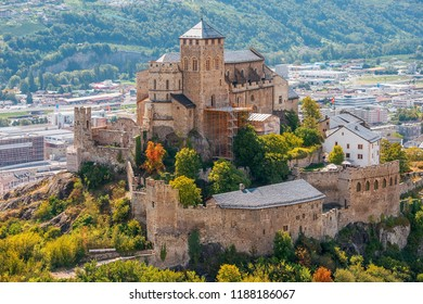 Sion, Switzerland - september, 03, 2018: view of the Valere Basilica, an ancient fortified church in Sion, Canton of Valais, Switzerland