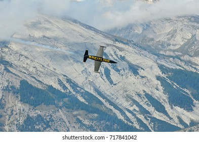 SION, SWITZERLAND - SEPTEMBER 15: Breitling L-39 Albatross in the Breitling Air Show:  September  15, 2017 in Sion, Switzerland