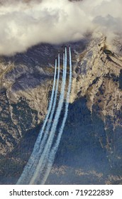 SION, SWITZERLAND - SEPTEMBER 15: Breitling Jet Team in the mountains in the Breitling Air Show:  September  15, 2017 in Sion, Switzerland