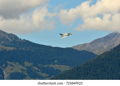 SION, SWITZERLAND - SEPTEMBER 15: Eurofighter Typhoon in the Breitling Air Show:  September  15, 2017 in Sion, Switzerland