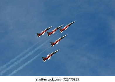 SION, SWITZERLAND - SEPTEMBER 15: Patrouille Suisse in the Breitling Air Show:  September  15, 2017 in Sion, Switzerland