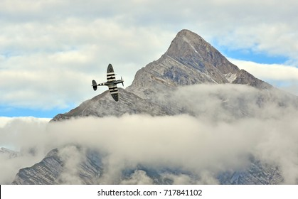 SION, SWITZERLAND - SEPTEMBER 15: World War II Spitfire in the Breitling Air Show:  September  15, 2017 in Sion, Switzerland