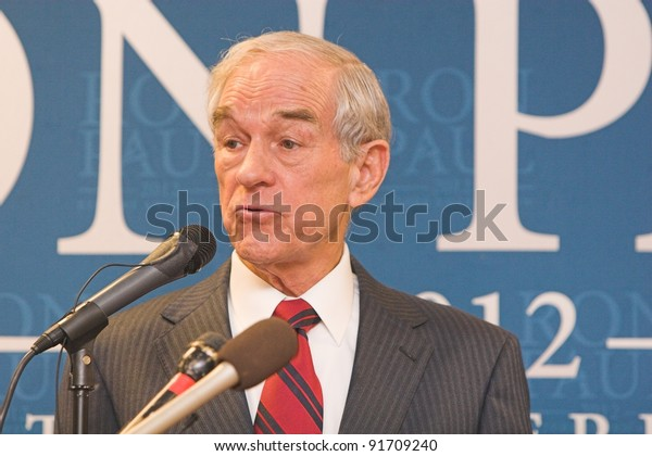SIOUX CENTER, IA - DECEMBER 30: Presidential candidate Ron Paul addresses the crowd at a campaign stop in Sioux Center, IA on December 30, 2011.