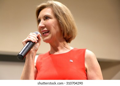 SIOUX CENTER, IOWA - AUGUST 27, 2015: Presidential Candidate, Carly Fiorina, speaks at a public gathering in Sioux Center, IA.  Fiorina is the former CEO of Hewlett Packard.