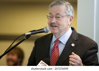 SIOUX CENTER, IOWA - FEBRUARY 26, 2015: Iowa Governor Terry Branstad addresses the audience at the dedication of the new Preschool Learning Center.