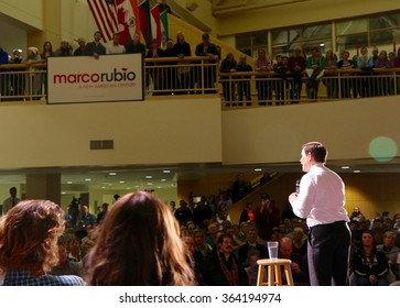SIOUX CENTER, IOWA - JANUARY 16, 2016: Presidential Candidate, Marco Rubio, addresses the crowd at a campaign stop.