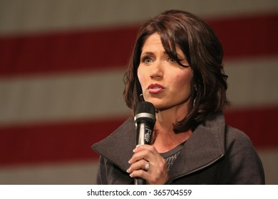 SIOUX CENTER, IOWA - JANUARY 16, 2016:  U.S. Representative Kristi Noem speaks at a Republican political rally in Iowa.  Noem is the congresswoman from South Dakota.