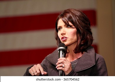SIOUX CENTER, IOWA - JANUARY 16, 2016:  U.S. Representative Kristi Noem speaks at a Republican political rally in Iowa.  Noem is the congresswoman from South Dakota.