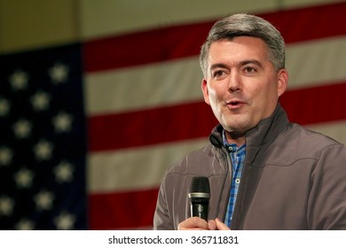 SIOUX CENTER, IOWA - JANUARY 16, 2016: Colorado Senator Cory Gardner speaks at a political rally in Iowa.