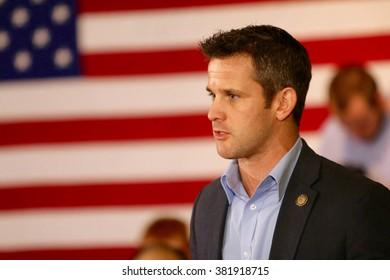 SIOUX CENTER, IOWA - JANUARY 29, 2016: U.S. Representative Adam Kinzinger of Illinois speaks at a political rally.