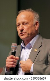 SIOUX CENTER, IOWA - JANUARY 5, 2016: U.S. Representative Steve King of Iowa speaks at a political rally.