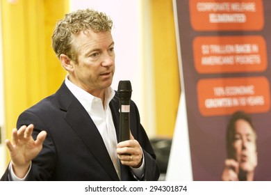 SIOUX CENTER, IOWA - JULY 1, 2015: Presidential candidate, Senator Rand Paul, addresses the public at a campaign stop in Iowa.