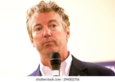 SIOUX CENTER, IOWA - JULY 1, 2015: Presidential candidate, Senator Rand Paul, addresses the media at a campaign stop in Iowa.