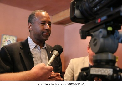 SIOUX CENTER, IOWA - JUNE 25, 2015:  Presidential candidate, Dr. Ben Carson, addresses the media at a campaign stop in Iowa.