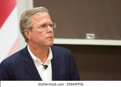 SIOUX CITY, IOWA - JULY 13, 2015:  Presidential Candidate, Jeb Bush, speaks at a public gathering in Sioux City, IA.