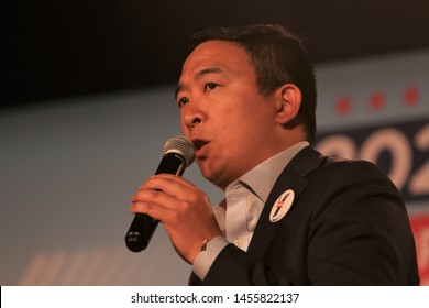 Sioux City, Iowa - July 19, 2019: Andrew Yang speaks to the crowd at a forum for presidential candidates.