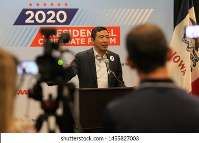 Sioux City, Iowa - July 19, 2019:  Andrew Yang addresses the press at a forum for presidential candidates.