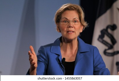 Sioux City, Iowa - July 19, 2019:  Massachusetts Senator Elizabeth Warren speaks to the crowd at a forum for presidential candidates.