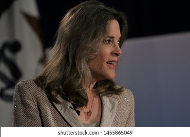 Sioux City, Iowa - July 19, 2019:  Marianne Williamson speaks to the crowd at a forum for presidential candidates.