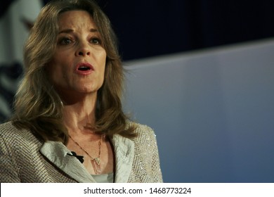 Sioux City, Iowa - July 19, 2019:  Marianne Williamson speaks to the crowd at a forum for presidential candidates in Sioux City, Iowa.