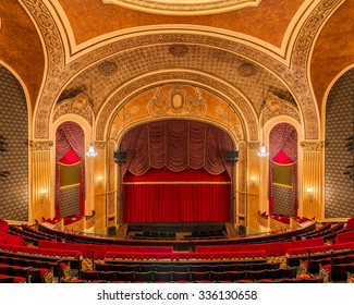 SIOUX CITY, IOWA - OCTOBER 15: Stage and curtain inside the Orpheum Theatre (1927) on Pierce Street on October 26, 2015 in Sioux City, Iowa