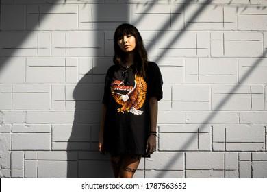 Sioux City, Iowa September 22 2019: Harley Davidson Biker girl in the sun