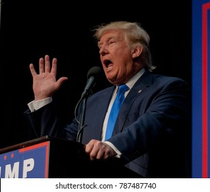Sioux City, Iowa, USA, 6th November, 2016 Presidential Republican candidate Donald Trump addresses an overflow crowd of 5000 supporters on the next to the last day of the campaign
