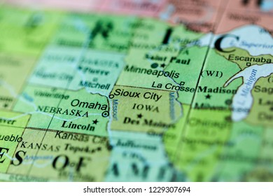 Sioux City. USA on a geography map
