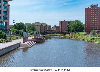 SIOUX FALLS, SD - JULY 10, 2018: Skyline of Sioux Falls South Dakota along the Big sioux River