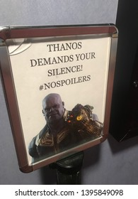 Sioux Falls, SD USA May 9, 2019 Thanos No Spoilers Sign