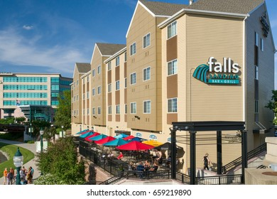 SIOUX FALLS, SD/USA JUNE 3, 2017: Unidentified individuals at the Falls Landing Bar & Grill at the Country Inn and Suites.
