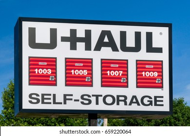 SIOUX FALLS, SD/USA JUNE 3, 2017: U-Haul Self Storage sign and trademark. U-Haul is an American moving equipment and storage rental company.