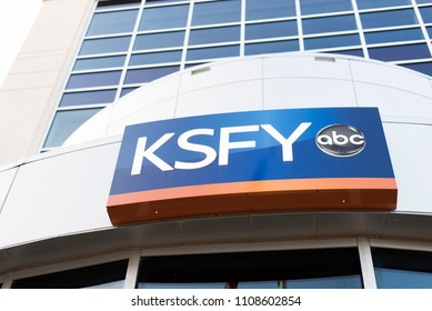 Sioux Falls, South Dakota, United States -September 8, 2017: Exterior of Sioux Falls ABC-affiliated television station seen from entrance, low angle view.