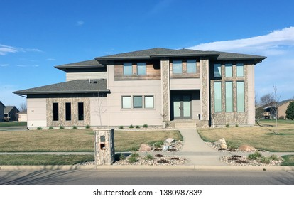 SIOUX FALLS, SOUTH DAKOTA UNITED STATES APRIL 21, 2019 - This is one of many modern homes built in the residential areas of southern Sioux Falls, South Dakota.