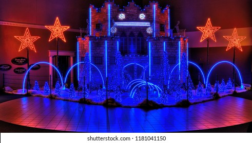 Sioux Falls, South Dakota, USA 12-25-15 The Christmas Castle is a a Display in Sioux Falls, South Dakota