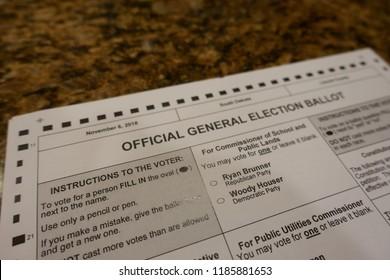 Sioux Falls, South Dakota, USA - 9/2018: Midterm election ballot