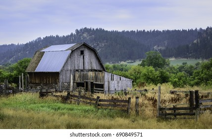 Sioux Falls, South Dakota, USA. Derelict wooden barn surrounded by overgrown vegetation in indigenous Indian reservation on an overcast day near Sioux Falls, South Dakota, USA.